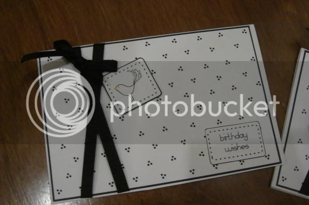 Black & White Birdie card with grosgrain ribbon