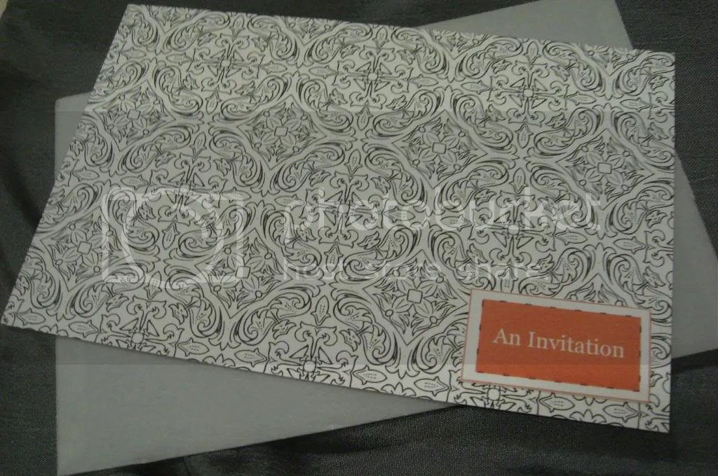 Damask & Orange invites