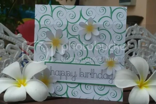Frangipani Swirls Birthday Card