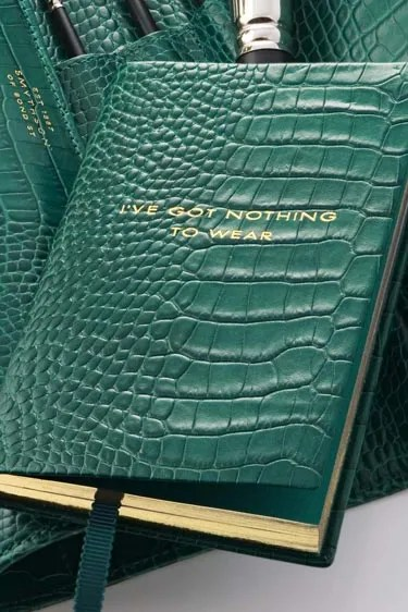 Smythson of Bond Street Malachite Collection I've Got Nothing to Wear notebook