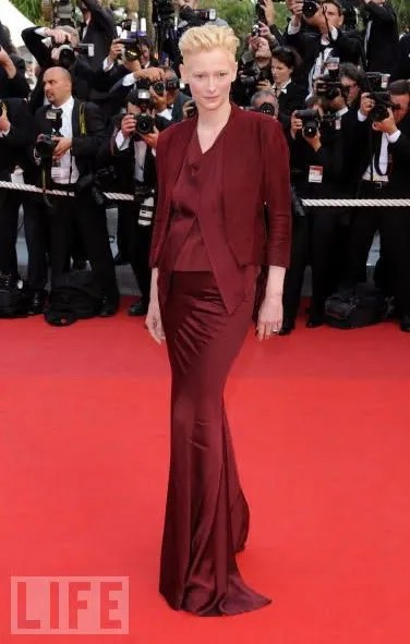 photo of Tilda Swinton in Cannes, Haider Ackermann dress