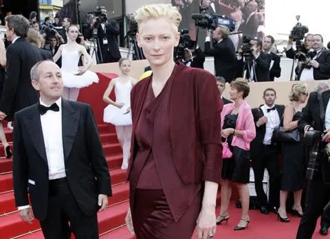 pic of Tilda Swinton wearing a Haider Ackermann dress in Cannes 2009