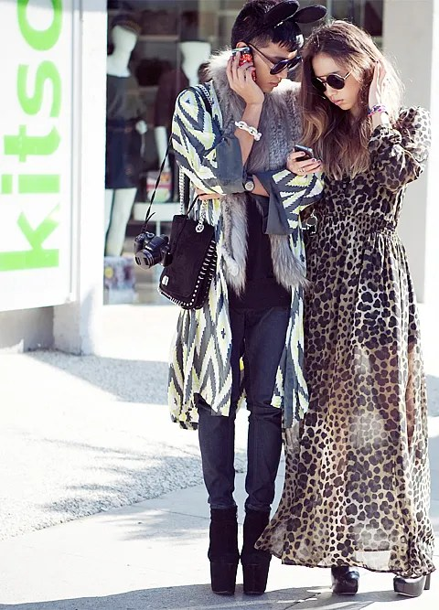 Bryanboy and Rumi in front of Kitson Store on Robertson Blvd., Los Angeles