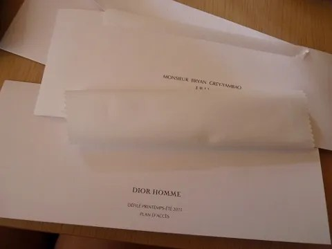 Dior Homme Spring Summer 2011 Fashion Show Invitation