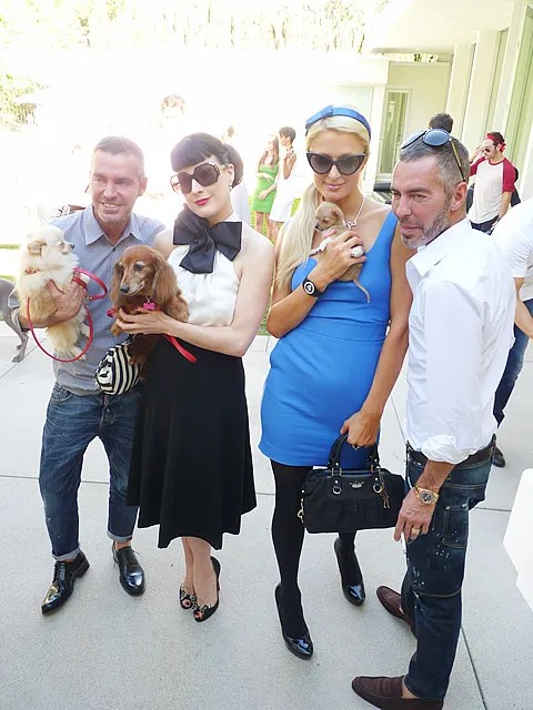 Dita von Teese, Paris Hilton, Dean and Dan Caten