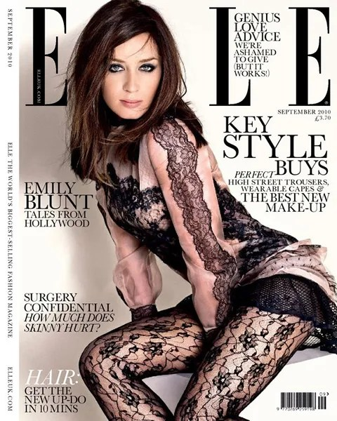Emily Blunt on the cover of Elle UK September 2010 magazine