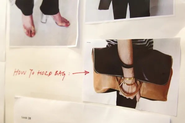 Instructions on how to hold a bag from 3.1 Phillip Lim spring summer 2012 collection