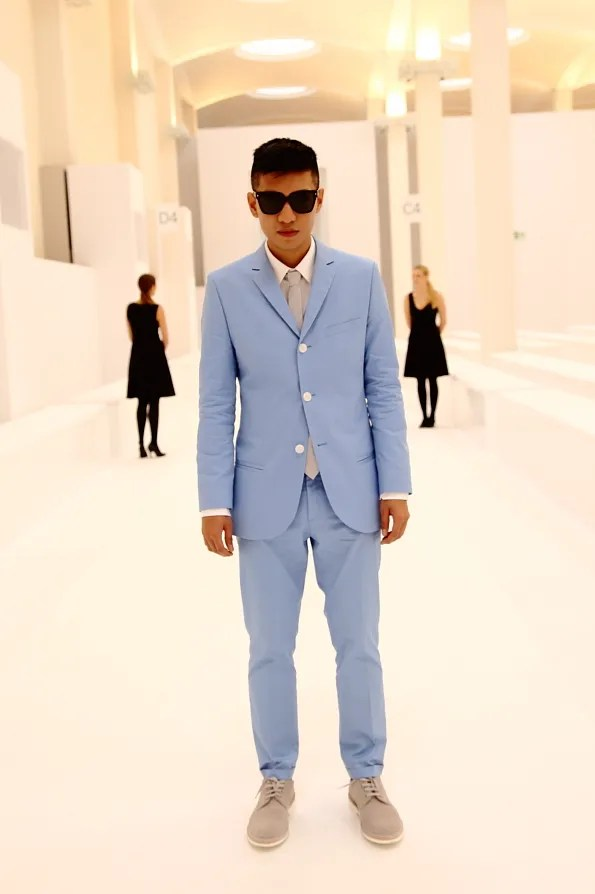 Bryanboy's sky blue suit from HUGO by Hugo Boss