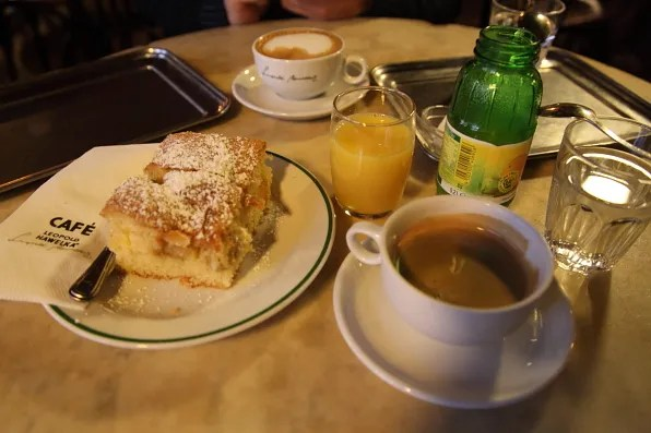 Cafe Leopold Hawelka Vienna cake, coffee and orange juice