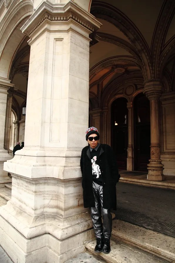 Bryanboy standing outside Vienna Opera House