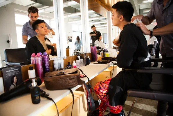 Bryanboy inside Bumble and Bumble salon, Meatpacking District New York City