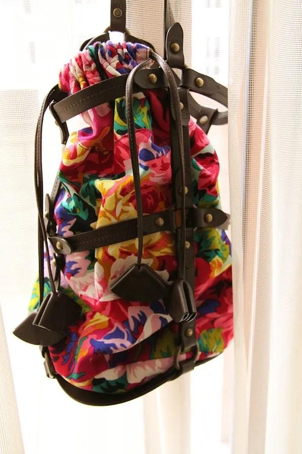 Kenzo canvas and leather bucket bag