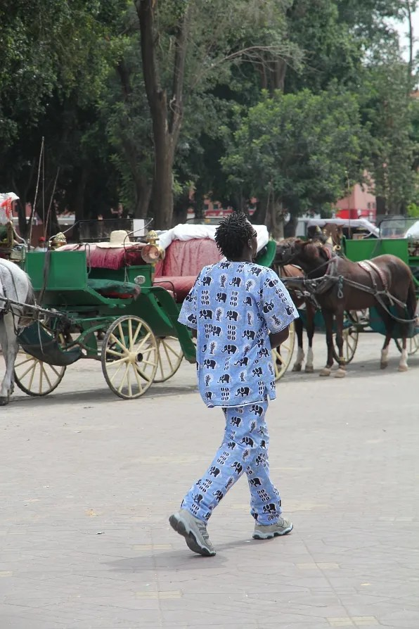 Man wearing elephant pyjamas