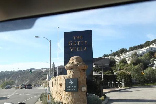 Roadside entrance to Getty Villa