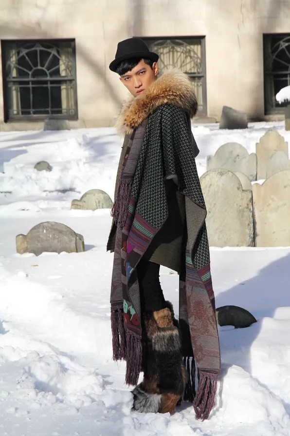 A photo of Bryanboy at Boston Burying Ground wearing Kenzo
