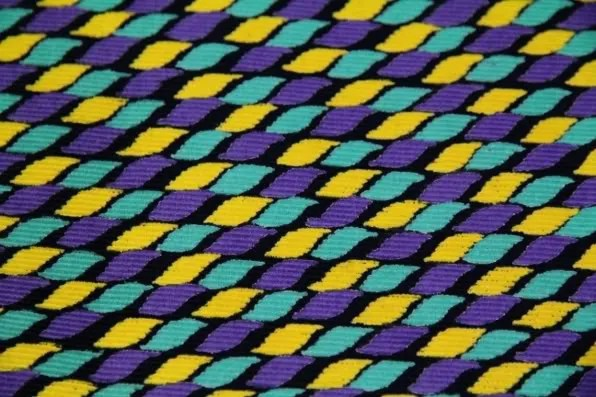 Printed Indian cotton fabric in turquoise, purple, yellow