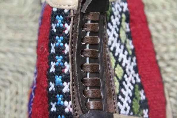 Details of a Moroccan carpet sandal