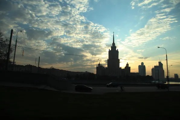 One of the Seven Sisters, Moscow, in sunset