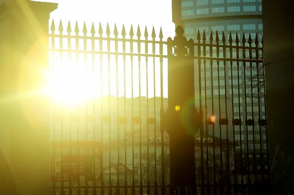 Sun shining through the gates