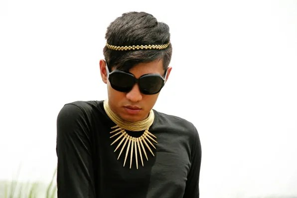 Bryanboy and necklaces from Dilli Haat market, New Delhi