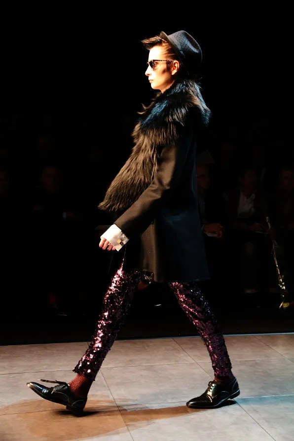 Runway look - purple Dolce & Gabbana sequined leggings from fall/winter 2011 fashion show