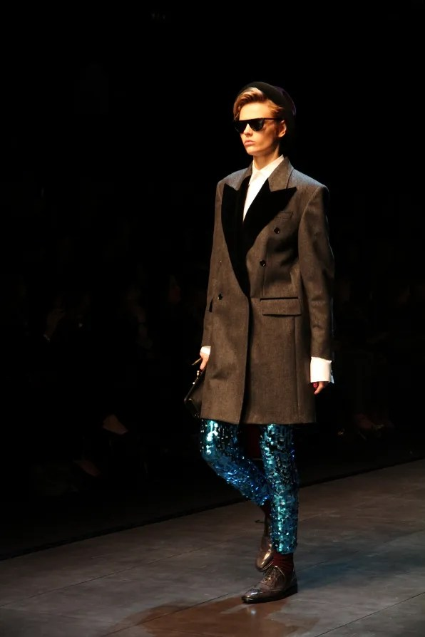 Runway look - blue Dolce & Gabbana sequined leggings from fall/winter 2011 show