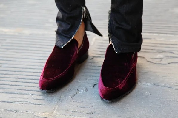 Bryanboy's Kurt Geiger velvet shoes
