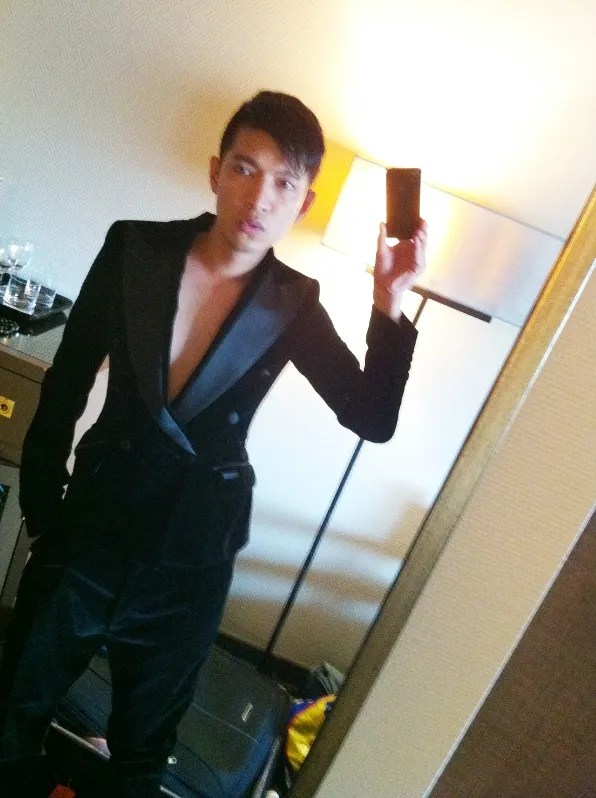 Bryanboy wearing a black velvet tuxedo from Dolce & Gabbana fall winter 2011