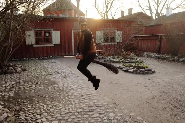Bryanboy flying a broomstick