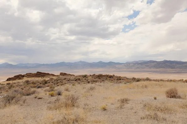 View of desert mountains in West Wendover, Nevada