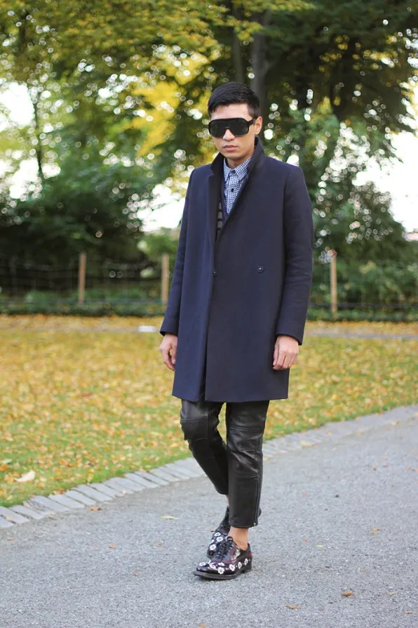 Bryanboy wearing Acne leather pants in Stockholm
