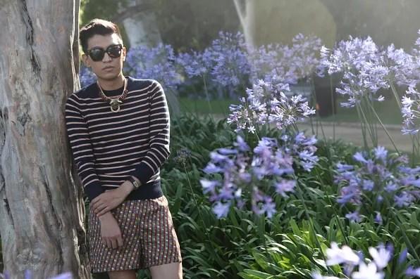 Bryanboy in a garden in Beverly Hills