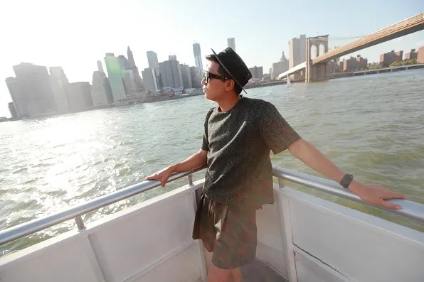 Bryanboy on the New York water ferry taxi to North Williamsburg, Brooklyn