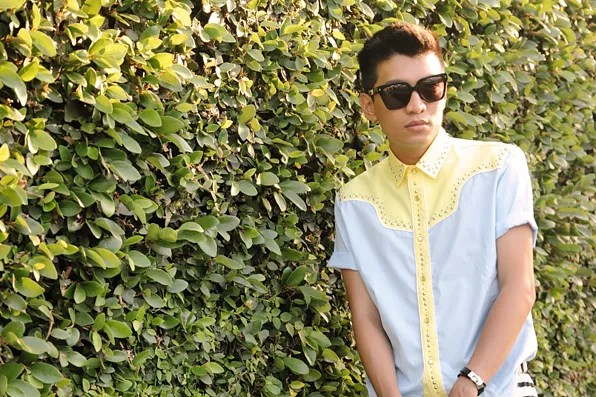 Bryanboy wearing a Prada studded shirt from Spring/Summer 2012 collection