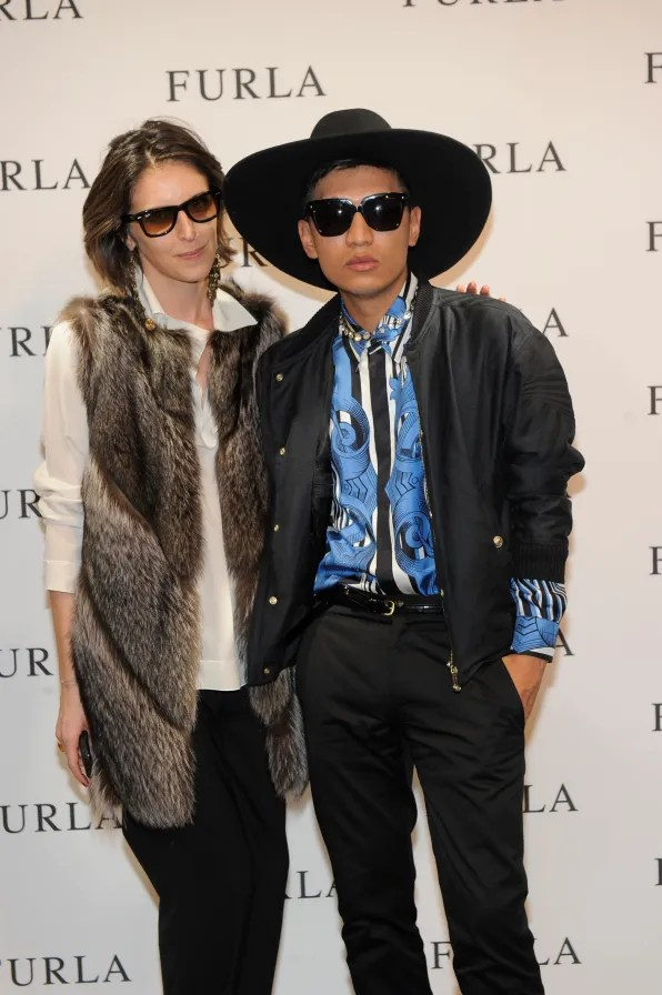 Alice Carli and Bryanboy at Furla Cocktail Event Milano