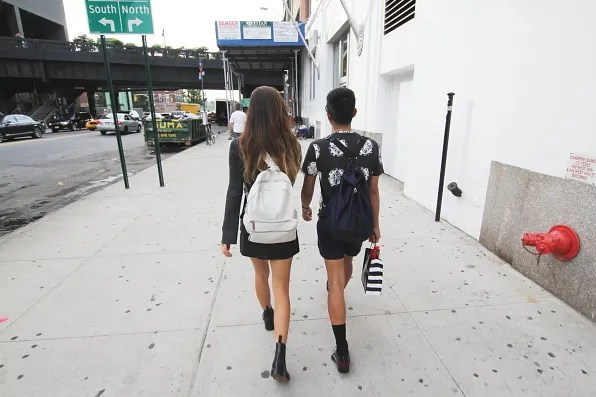 Rumi Neely and Bryanboy walking to Jeffrey store at Meatpacking District