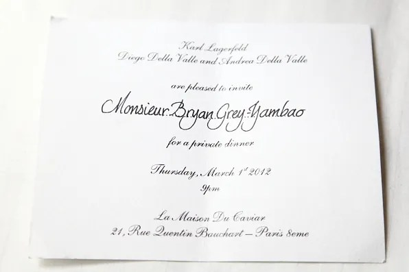 Dinner invitation from Karl Lagerfeld and Diego Della Valle