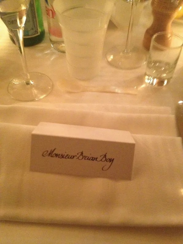 Bryanboy's table placement at La Maison du Caviar Paris