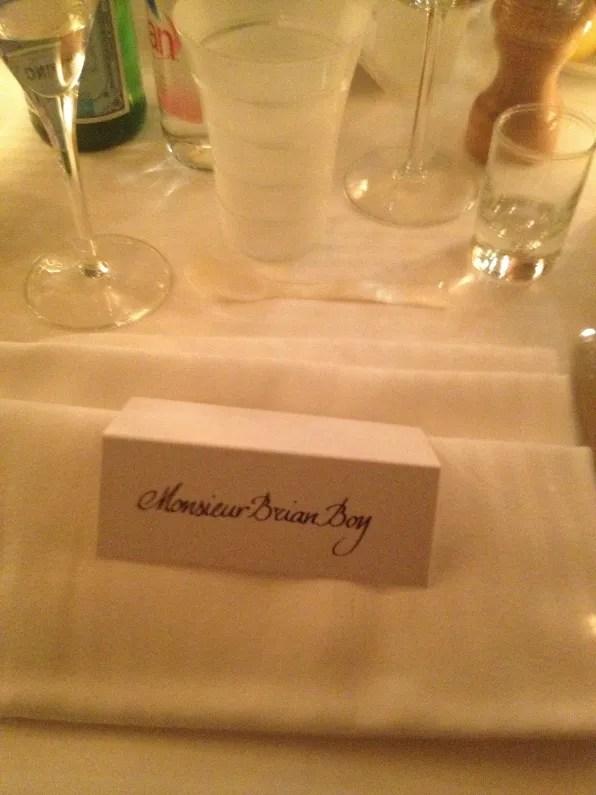Bryanboy's table placement at La Maison du Caviar Paris