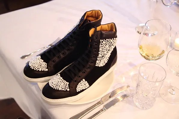 Louis Leeman Paris shoes fall winter 2012 black high top sneaker with white caviar beads