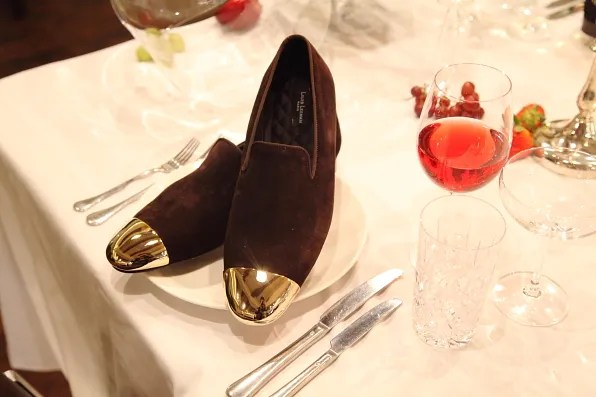 Louis Leeman Paris shoes fall winter 2012 brown velvet slipper with gold cap toe