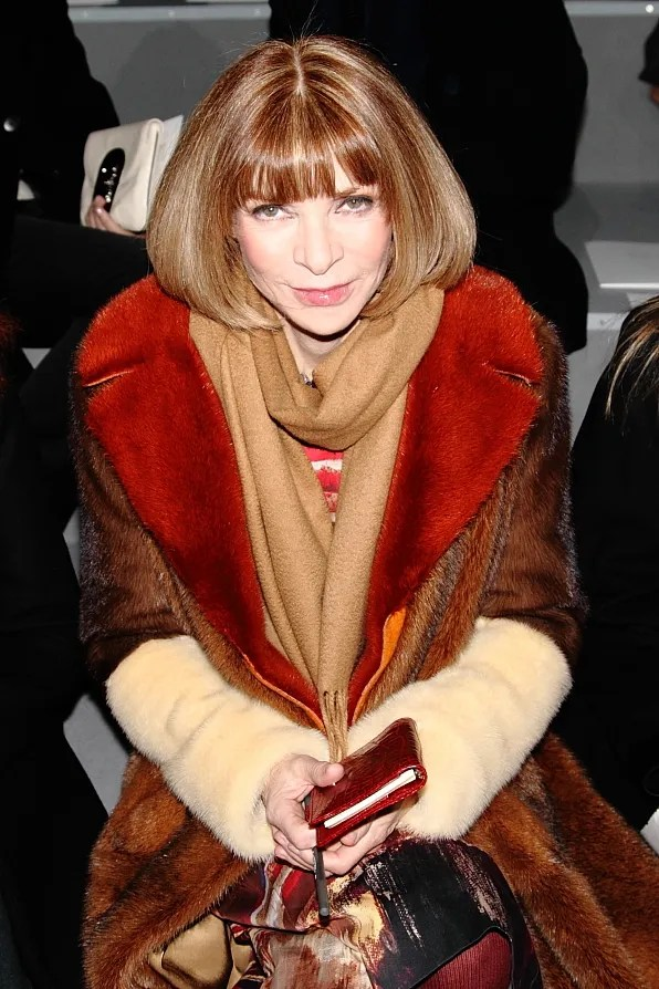 Anna Wintour wearing a Celine fur coat at Marc Jacobs fall winter 2012 fashion show