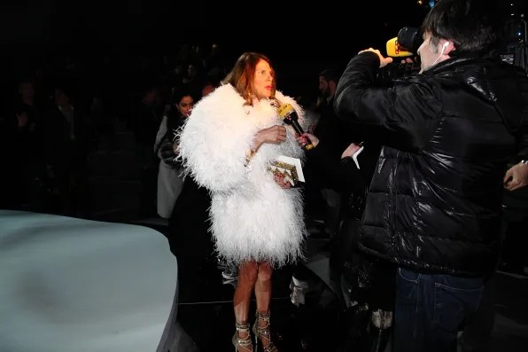 Anna Dello Russo being interviewed at Marc Jacobs fall winter 2012