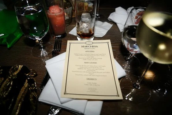 Menu at the Marchesa dinner at The Darby, New York