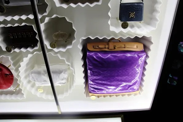 Louis Vuitton purple patent leather steamer bag