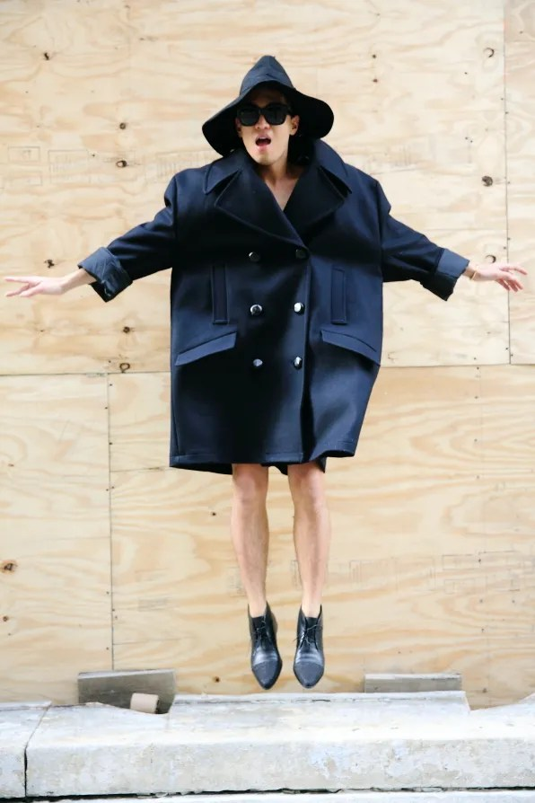 Black oversized Margiela x H&M coat