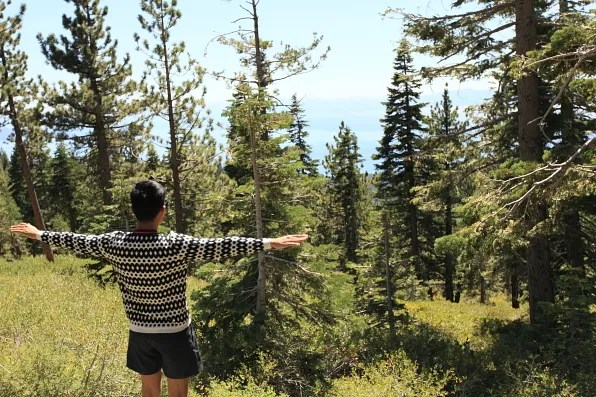 Bryanboy wearing a Marni sweater in Lake Tahoe