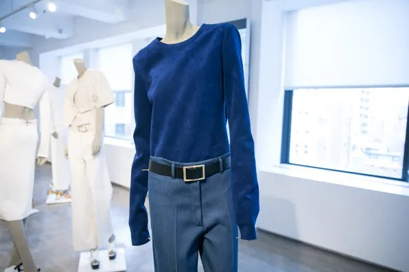 Blue jeans and ultrasuede sweater from Calvin Klein Collection Resort 2014