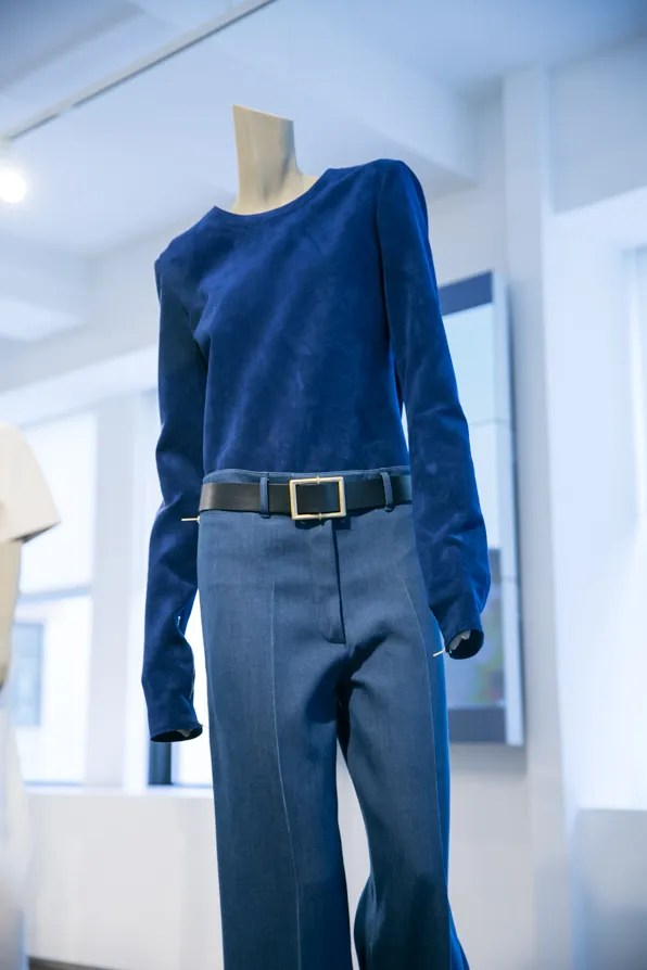 Blue ultrasuede sweater from Calvin Klein Collection Resort 2014