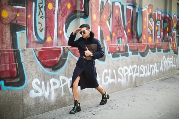 Acne Studios coat worn by Bryanboy in Milan